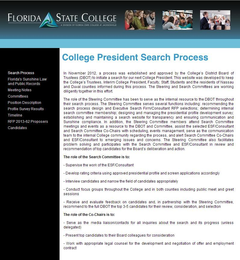 FSCJ began searching for a permanent president in November 2012