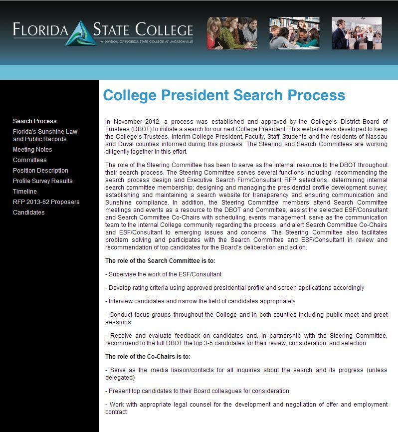 FSCJ began searching for a permanent president in November 2012