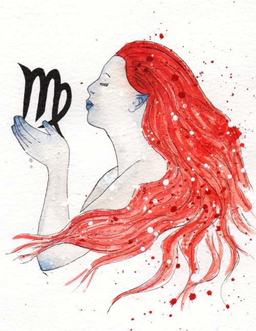 My submission for Illustration Friday. Virgo, acrylic ink, pen and watercolour on paper. The outline of this piece started off as something I drew for my brother's next tattoo. As this week's topic is Zodiac I decided to make it into a finish piece and upload it.