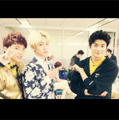 """congratulations namu !! from hyungsik &bumkey (guess who is that boy behind us )"" -key"