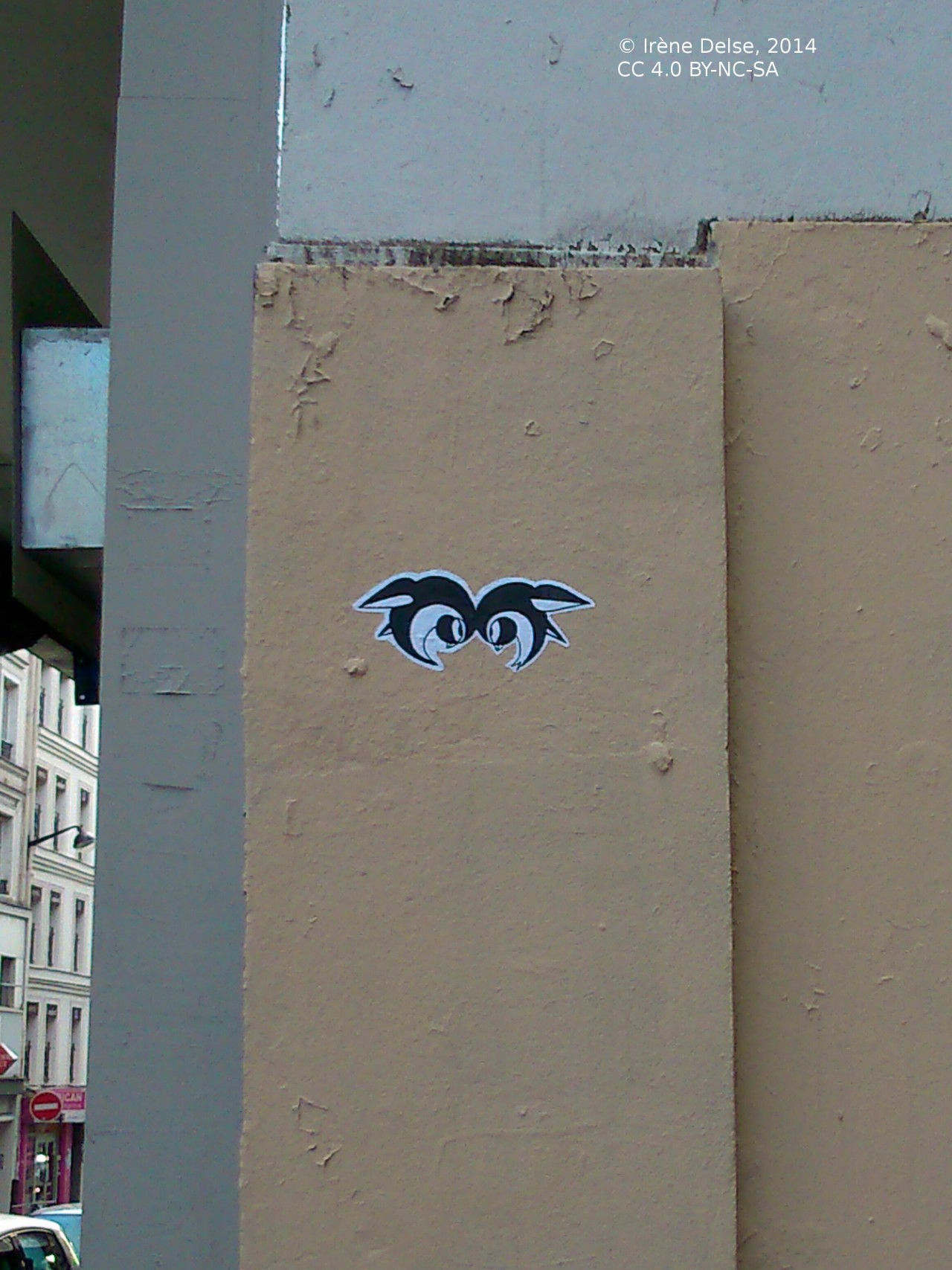 Deux oiseaux (collage), dans une rue de Paris.