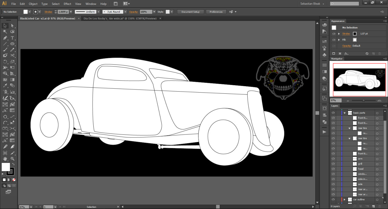 Pen Tool Car in Adobe Illustrator