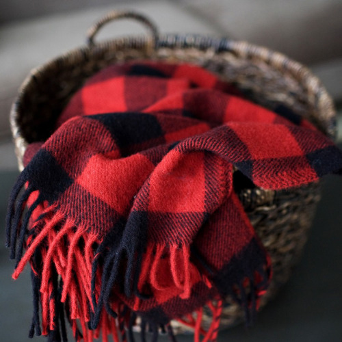 mrsjuliejones:clubmonaco:Cashmere blanket in buffalo plaid. Perfect for your chilly cabin. I'm kind of obsessed with buffalo check plaid…