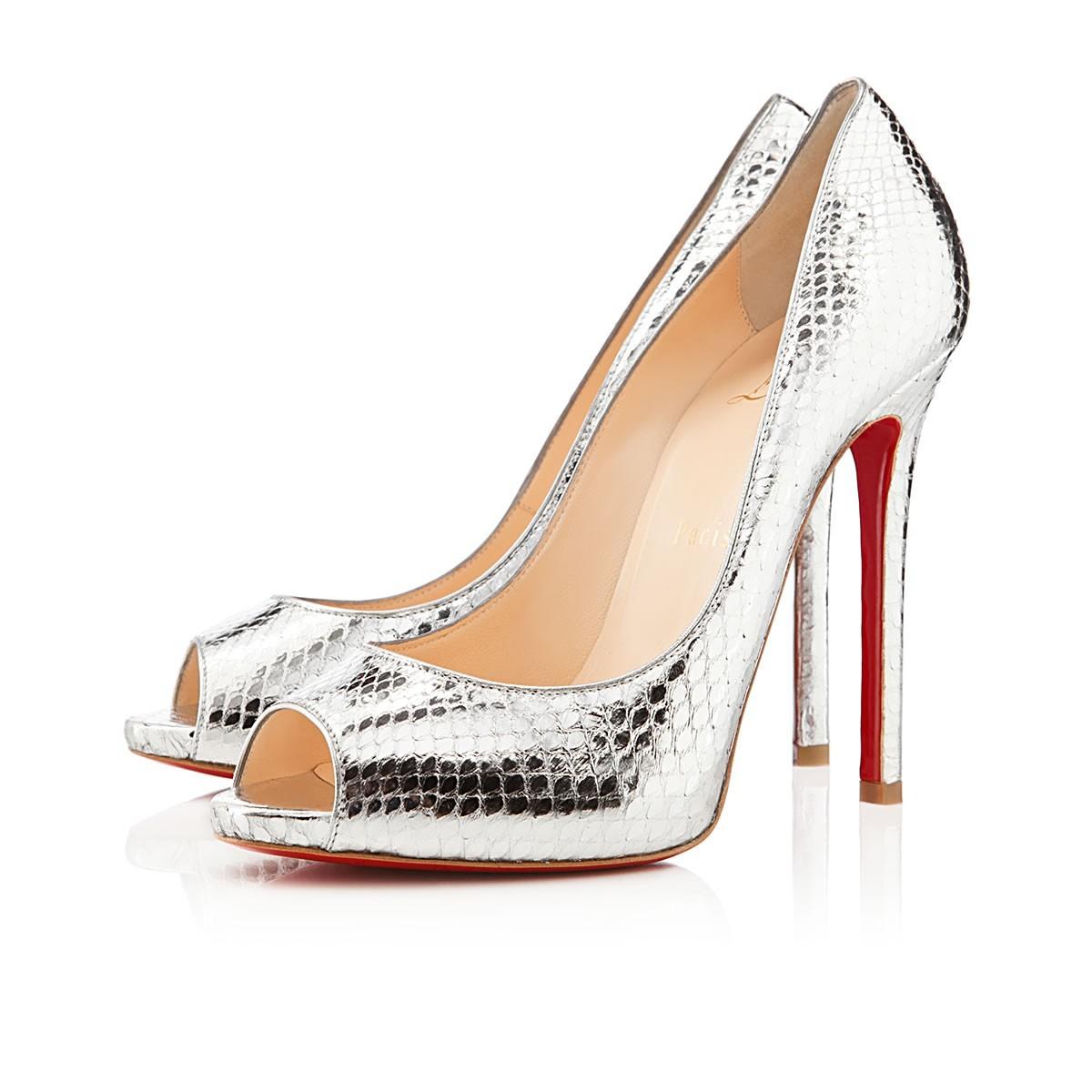 Christian Louboutin heels gold python peep toe