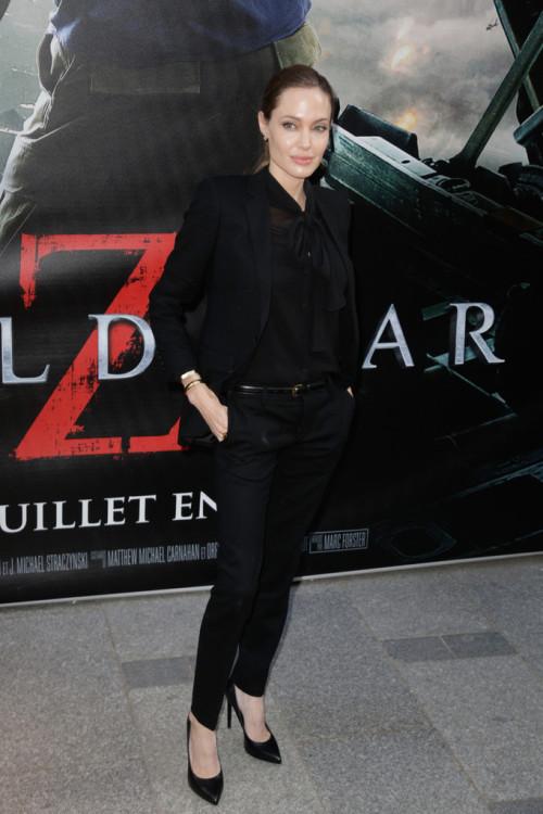 Angelina Jolie in Saint Laurent at the World War Z premiere in Paris.