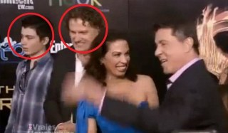 Here is the HUNGER GAMES htiman Elliot Rodger, extreme left, with his father, the assistant director of the film, Peter Rodger.. and to the right: Sylvester Stallone..  MORE HERE..