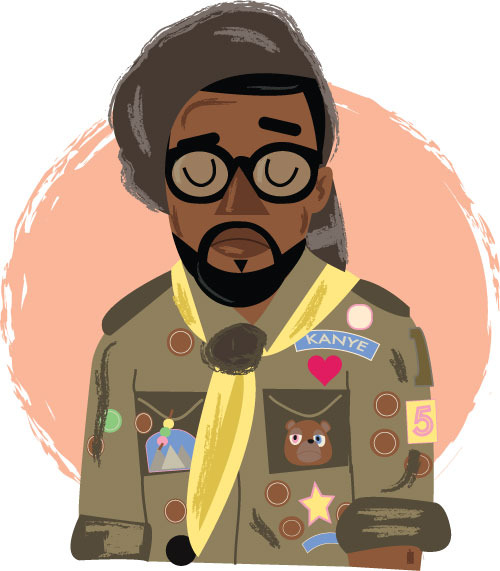 hatedxloving:  Moonrise kingdom Kanye West by Phil Howell   follow on twitter   Buy a print here: https://www.etsy.com/listing/122440171/kanye-west-wes-anderson-moonrise-kingdom