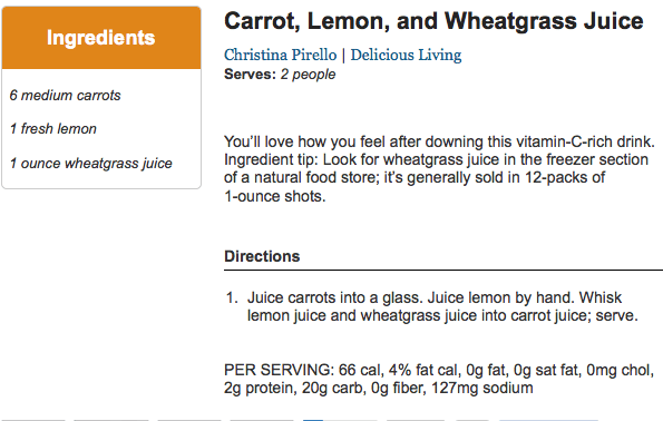 Carrot Lemon and Wheatgrass Juice