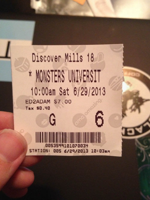 Monster's University AMC Ticket
