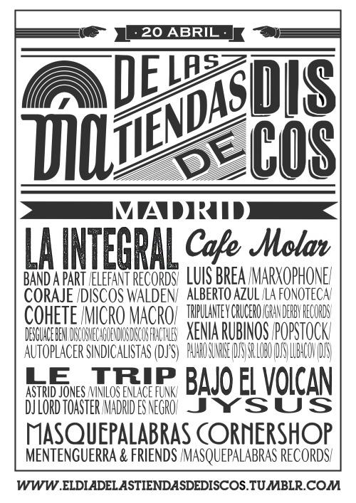 Cartel de las actuaciones de El Día de las Tiendas de Discos de Madrid.Diseño: Vanessa Millet
