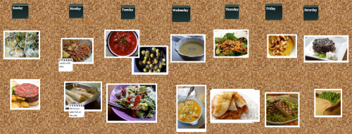 This screen capture shows Lablasco'svegmenu virtual cork board with a 27th Jan to 2nd Feb menu meal plan