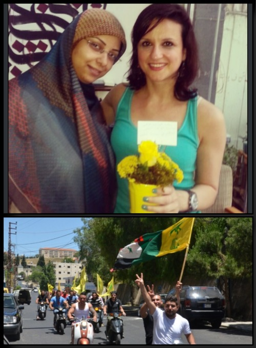 Hizbullah supporters celebrate the liberation of Qusayr from the counter-Resistance Takfiri forces. Hizbullah students offered  some of their professors flowers to celebrate the event.