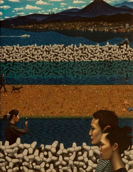 """Carl Randall,""""In the Footsteps of Hiroshige: Portraits of Modern Japan"""" @ National Portrait Gallery, London (until 15 Sep 2013)Carl Randall won last year's BP Portrait Travel Award with a really striking painting called """"Mr Kitazawa's Noodle Bar"""" => HERE. He was given £5,000 to go explore & paint Japan. Above are a few of the portraits that came out out that journey.Carl Randall:The japanese woodblock-print artist Ando Hiroshige (1797-1858) made prints depicting the places and people of his day. In 1832, he travelled along the Tokaido highway, a trading route from Tokyo to Kyoto, producing depictions of the people he met and the landscapes he experienced. Those prints now serve as a valuable document of life in japan at that time, forming an important part of the country's cultural heritage. In june 2012, I travelled the same route to make modern portraits of people and their environments: a cross-section of old and mew japan, from salary men in office blocks to farmers in rice fields. The journey started in Tokyo where, drawn to its densely crowded streets, I painted hundreds of residents, directly from life. These depictions of strangers in crowded public spaces are related to my interest in urban alienation — people sharing physical space, but mentally existing in separate worlds. In cities such as Yokohama and nagoya, I painted other features of modern japan including sushi restaurants and department stores. As the highway moves out of cities and into rural areas, elderly rice farmers work their fields, their backs permanently bowed, skin leathery and wrinkled from a lifetime of farming. I also saw aspects of traditional japanese scenes: hot springs, fireflies and red autumn leaves. However, the modern and urban were ever present in the rural, with old and new often sitting side by side, such as bullet trains, motorways, telegraph poles and tower blocks. This unique and exciting opportunity allowed me to develop my interest in portraiture and japan, while follow"""