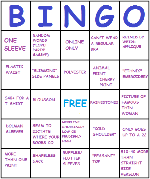 wtfplus:the completed plus size clothing bingo card.Bingo! BINGO! BIN-GO!!!!
