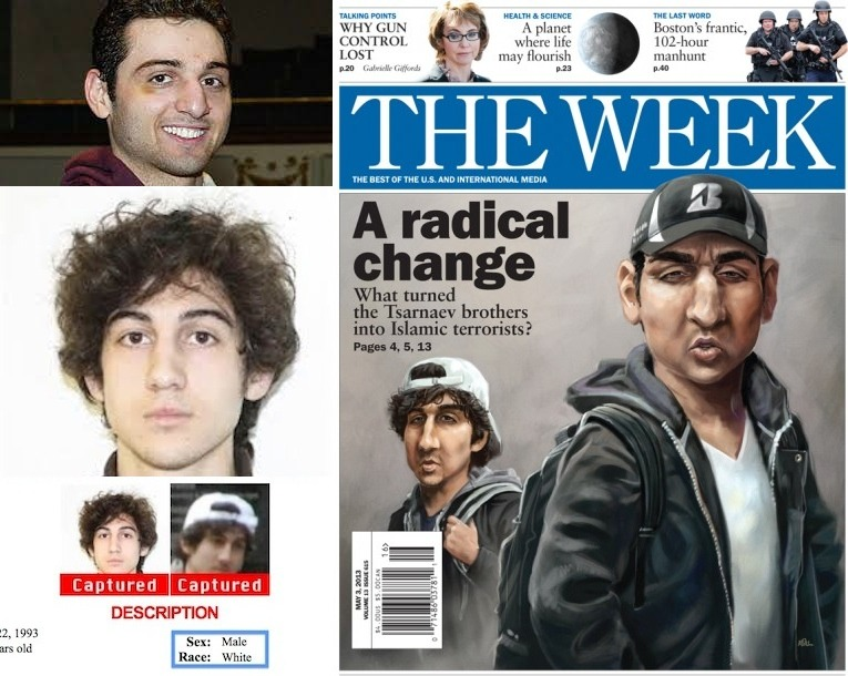 The photos released by the FBI stand by a much darker and more 'Arab-looking' caricature photo from a magazine called 'The Week'