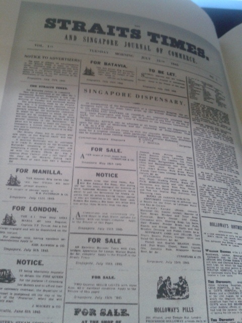 Front page of the Straits Times' inaugural issue, July 15, 1845