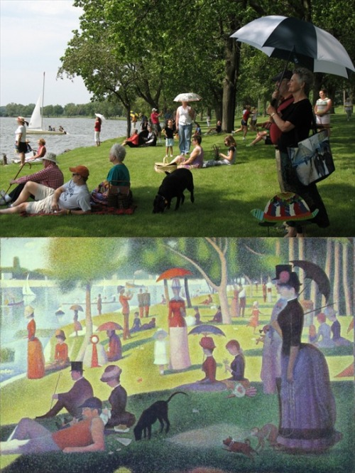"Photograph that looks like Seurat's ""A Sunday Afternoon on the Island of La Grande Jatte"" (via GEARFUSE)"