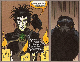timetravelandrocketpoweredapes:  pigtailsandcombatboots:  fuckyeahcrows:  Sandman, The Kindly Ones  ARB for Sandman: Dream and Matthew, his companion crow. (I wish had a companion crow.)