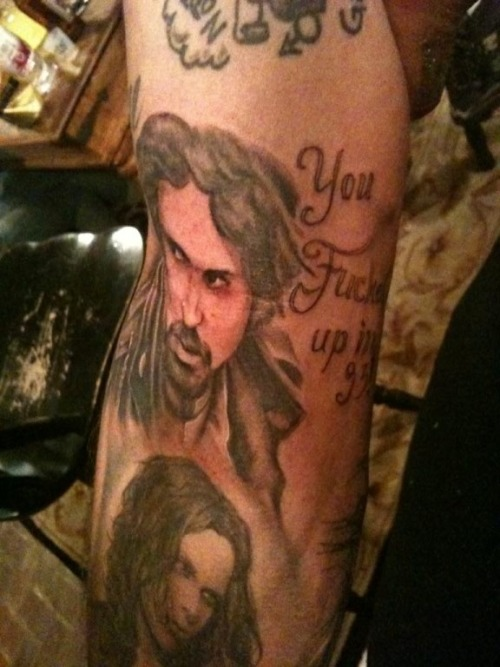 """Bam's Tattoo of Chad says. """"You fucked up in 93"""" If you have watched it you"""