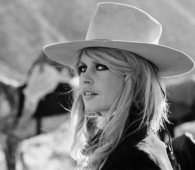 The ever lovely Bridget Bardot in a wonderfully high crown country fedora.