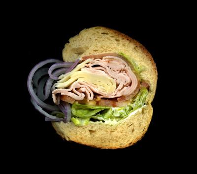 M&S Prime Meats:Turkey, Swiss, Lettuce, Tomato, Onions, Mayo, on a Hero
