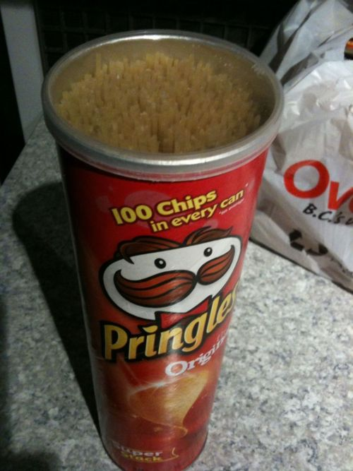 You can use a Pringles can to store unused uncooked spaghetti.