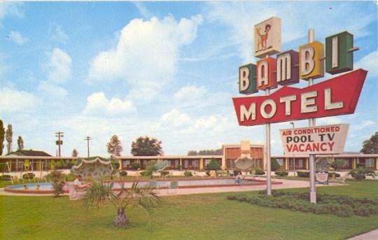 Bambi Motel postcard - Perry, Florida U.S.A. - date unknown