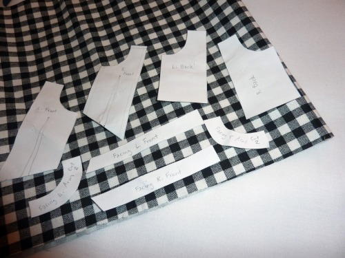 """Tiny little pattern pieces for Project Project Runway's """"Come As You Are"""" Challenge. I drafted this patterns myself. So proud of myself! Come Thursday, I will reveal the finished outfit."""