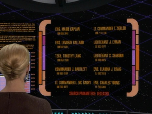 "pmtgirl:</p><br /> <p>As a fan of both the West Wing and Star Trek Voyager, I love that the West Wing staff are the dead crew of Voyager.  Taken from the episode ""Imperfection!""  They did spell the names wrong though.  probably to avoid being sued by Warner Bros<br /><br />"