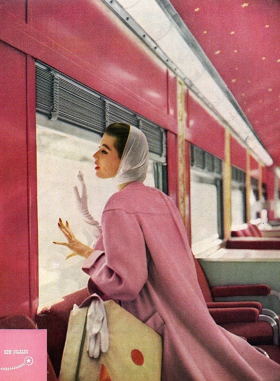 theniftyfifties:</p> <p>1950s coat fashion in pink.<br />