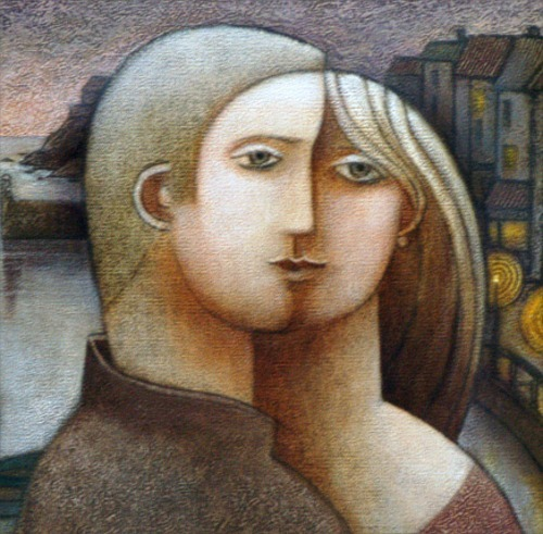 The Face of Love Detail from Harbour Lovers by Jiri Borsky