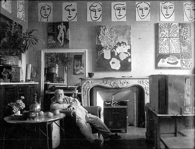 Henri Matisse in his studio in the south of France, 1948
