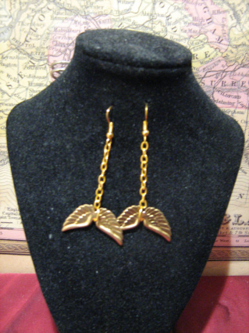Gold plate fish hook earrings, gold plate rings, gold plate chain and gold tone wing charm earrings.Cute little earrings with angelic charms which go with almost any outfit!<br />Click on image for listing