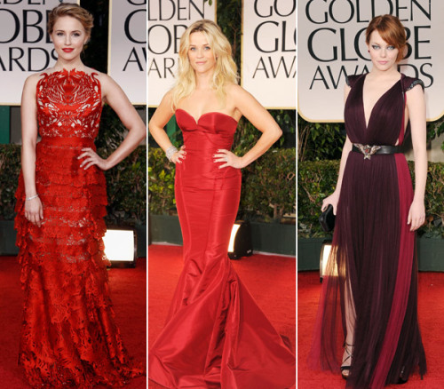 Dianna Agron in a Giles gown with laser-cut swans. Reese Witherspoon's in a red Zac Posen  (pre-fall 2012) peony taffeta bustier gown. Emma Stone in a maroon and fuchsia pleated Lanvin gown with an eagle belt buckle. <br /><br /><br /><br /><br /><br />