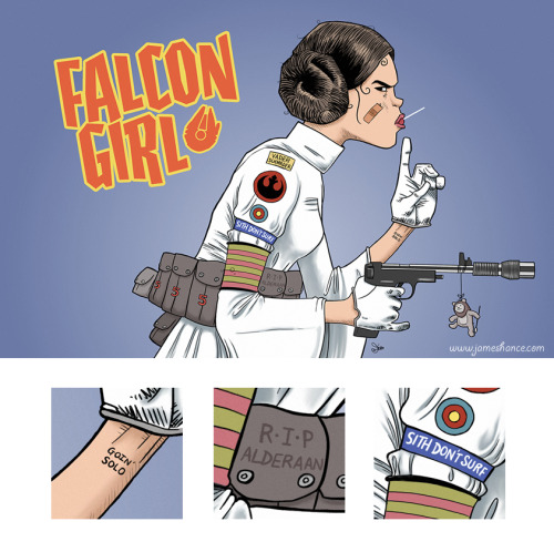 Falcon Girl by James Hance Prints available atjameshance.com(for US and Canada) andjameshance.co.uk(UK and Europe). Grab the shirt before it's inexplicably destroyed atredbubble. (via James' tumblr:jameshance)