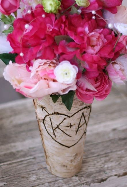 Birch Vase Centerpiece Bride Bouquet Flower by braggingbags