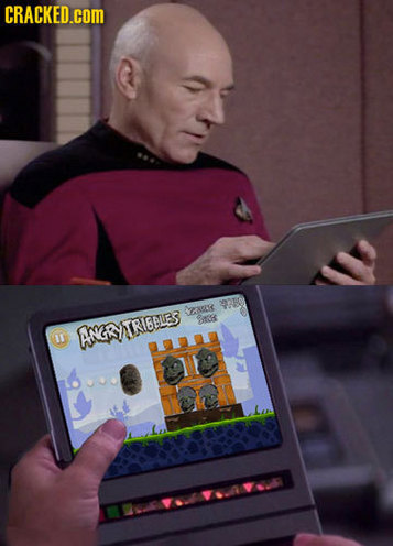 Jean-Luc Picard in the ready room, playing Angry Tribbles! (image credit McBeefy on Cracked.com) [image: two panels arranged vertically - #1. Picard sits at a table with a tablet-style data interface #2. the screen has been photoshopped to show a game called Angry Tribbles]