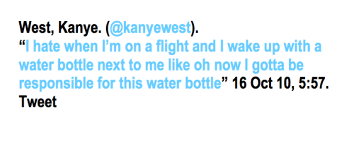 MLA's twitter citation. Example: Kanye West. [via: ipsadixit]
