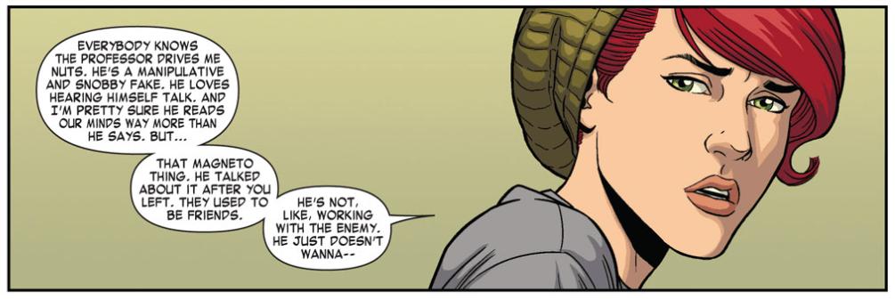 Comic panel: Jean on Xavier.