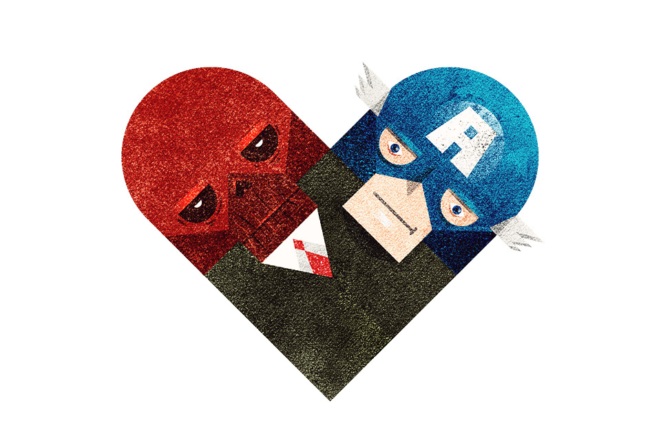 """Red & BlueI was thinking of doing Loki & Thor, but decided to go with Cap and Skull first. :) I was never a big fan of Captain America, but I loved the old Captain America cartoon theme.""""When Captain America throws his Mighty Shield…"""""""