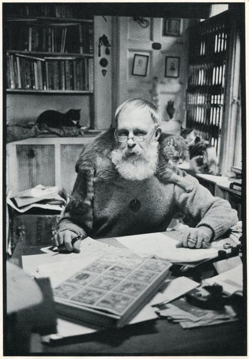 """Eduard """"Santa"""" Gorey and kitty."""