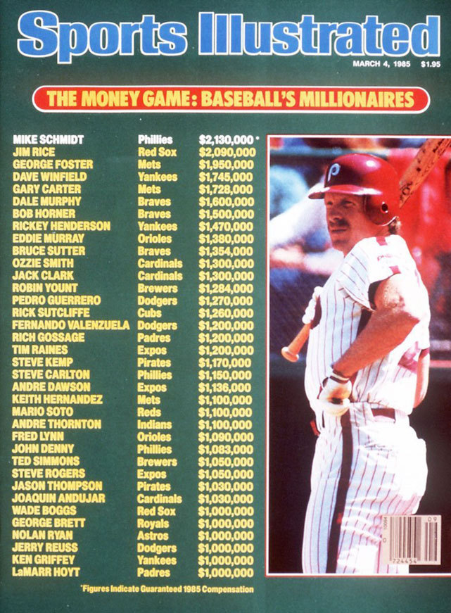 The March 4, 1986 issue of Sports Illustrated takes a look at baseball's 36 millionaires and exactly how much they make. The average MLB salary in 2012 is $3,440,000, according to CBSSports.com. (Jerry Wachter/SI) SI VAULT: Raines becomes baseball's 36th million-dollar player (3.4.85)