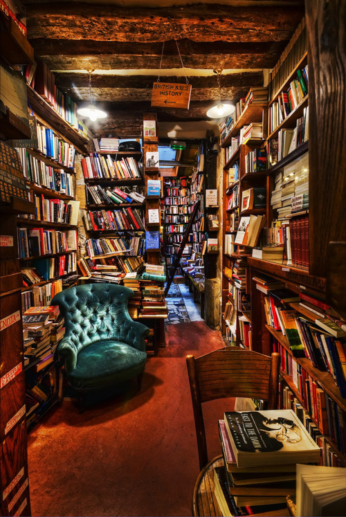 Interior of the famous Shakespeare and Company bookstore, Left Bank, Paris