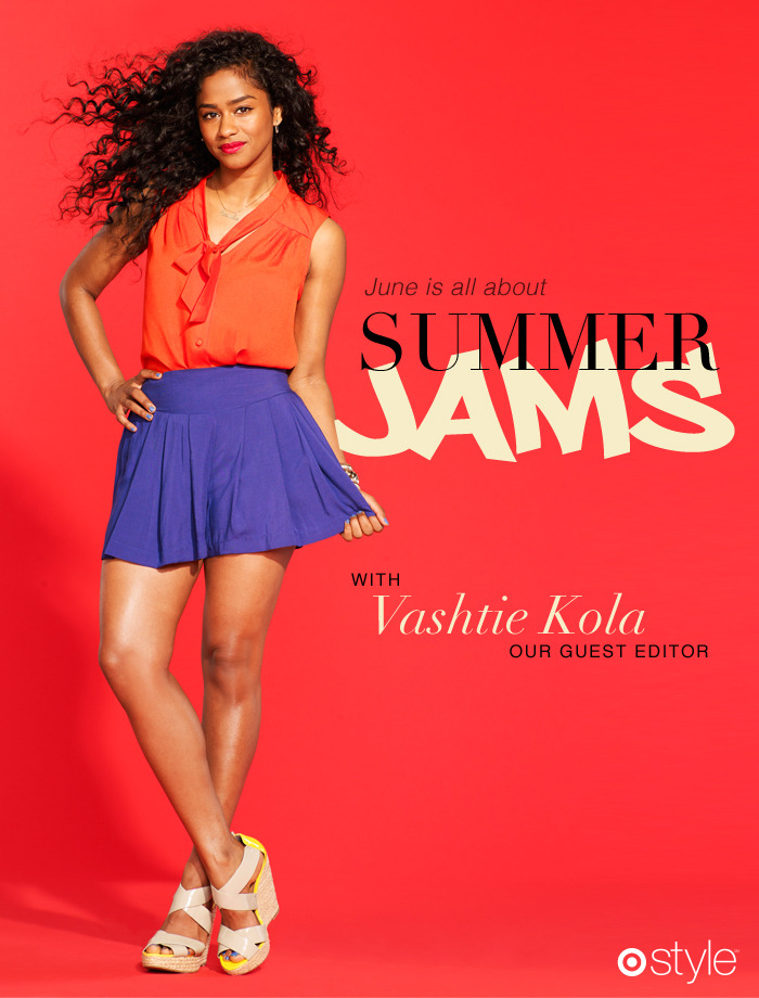 June is all about…<br /><br /> Summer Jams with Vashtie Kola.<br /><br /> own it now: necktie top. skirt. wedges.
