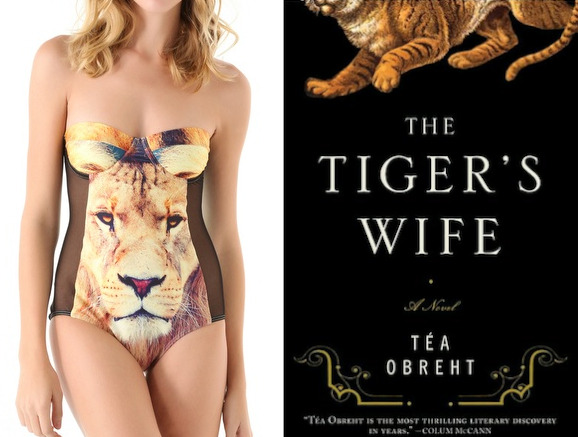 "The book: The Tiger's Wife by Tea Obreht The first sentence: ""In my earliest memory, my grandfather is bald as a stone and he takes me to see the tigers."" The book designer: Virginia Norey The bathing suit: The King Panel One Piece by We Are Handsome. $340."