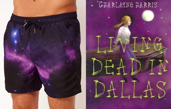 "The book: Living Dead in Dallas by Charlaine Harris. <br /><br />The first sentence: ""Andy Bellefleur was drunk as a skunk.""<br /><br />The bathing suit: Space Print Swimshorts by River Island from ASOS. $41.43."