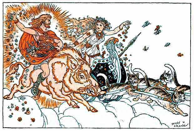 Frey riding the golden boar Gullinbursti, Freya driving her chariot pulled by cats (Image: Donn Crane. Public domain)