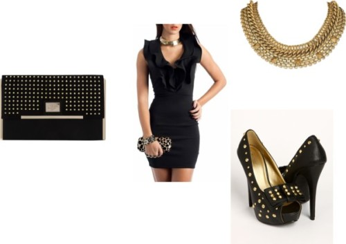 Black and Gold Acesories by thehautebunny featuring a collar necklaceSheath dress / High heel shoes / Dorothy Perkins oversized clutch / Collar necklace, $500