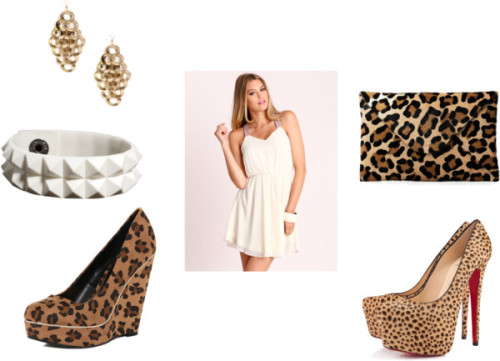 White and Cheetah Everything by thehautebunny featuring rubber jewelryCutout dress / Dorothy Perkins leopard wedge / Clutch handbag, $265 / ASOS rubber jewelry / Circle earrings / Christian Louboutin Christian Louboutin Daffodile
