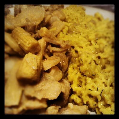 Crocodile green curry with tumeric basmati rice